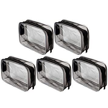 Siming - 5 bolsas de maquillaje de PVC para cosméticos, neceser transparente con cremallera, impermeable, bolsa portátil para viajes