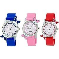 VK Sales Rubber Belt Quartz Movement Analog Multicolour dial Women Watch (Combo of 3)