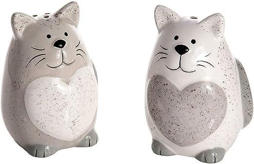 Juego de Saleros y Pimenteros con Diseño de Gato de Cerámica, Regalo para los Amantes de los Gatos y Animales: Amazon.es: Hogar
