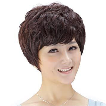 TT peluca mullida femenina pelo corto peluca realista