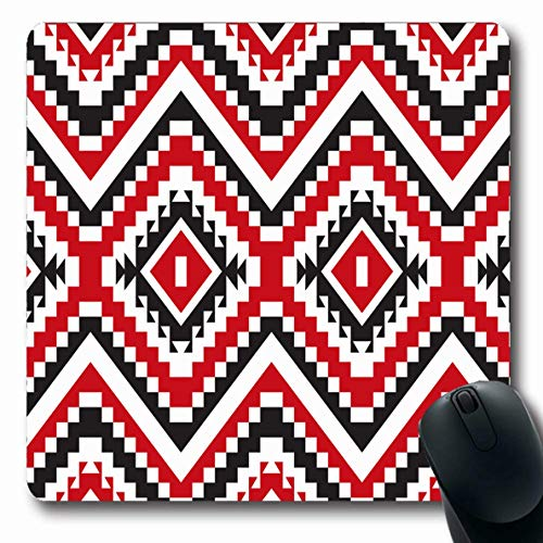 - Ahawoso Mousepad for Computer Notebook Modern Aztec Tribal Red Black Geometric Pattern Abstract American Native Navajo Tribe Apache Design Oblong Shape 7.9 x 9.5 Inches Non-Slip Gaming Mouse Pad