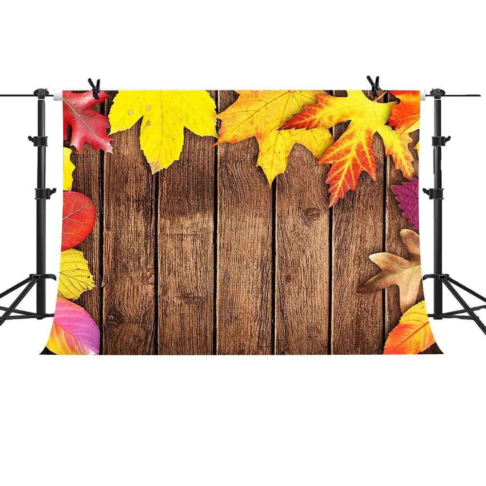 MME 10X7フィート 木製ボード メープルリーフ 背景 YouTube用 写真撮影用背景幕 写真ブース小道具 LFME056   B07GNXN4LL