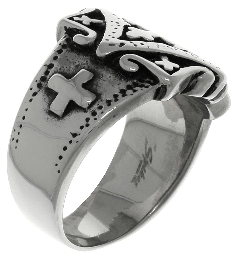 Carolina Glamour Collection Jewelry Trends Stainless Steel Band Ring with Ornamental Gothic Cross Whole Sizes 6-13