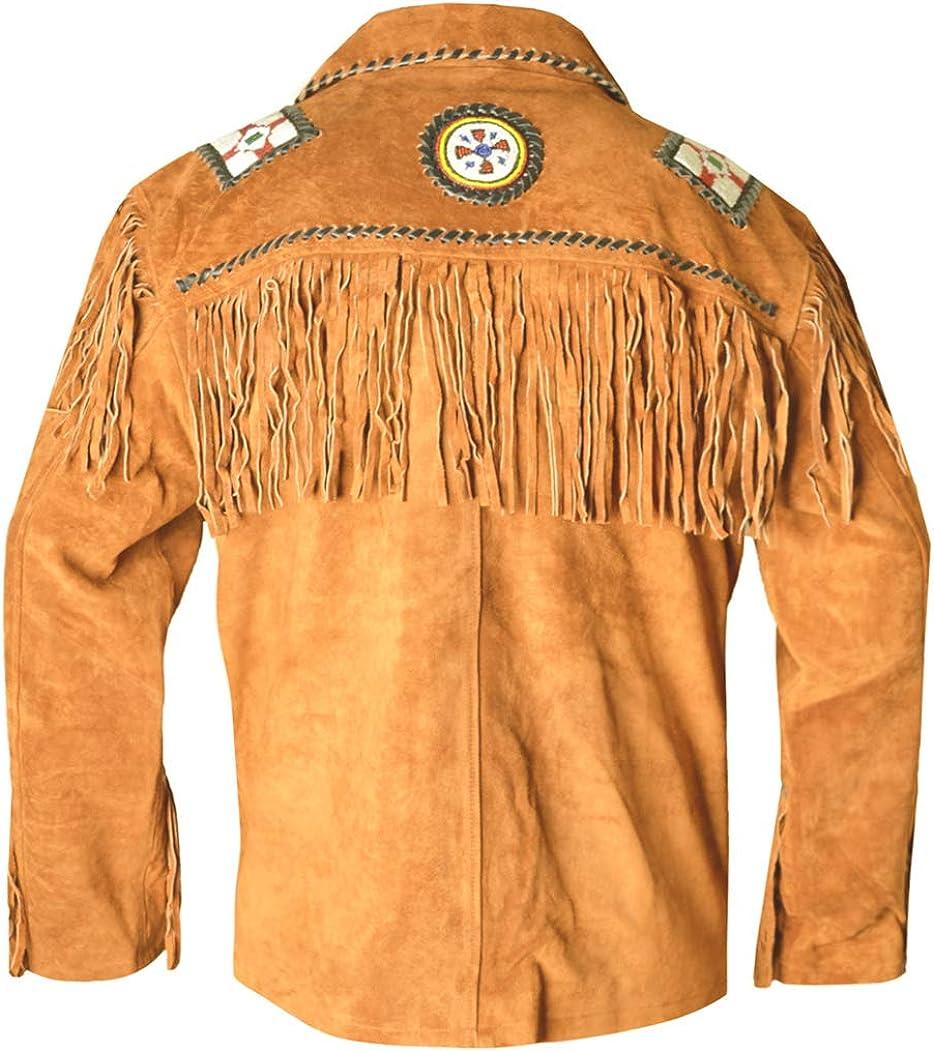 MSHC Western Cowboy Mens Fringed Suede Leather Jacket D8 V1 XXS-5XL Camel Brown