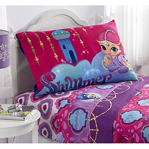 D.I.D. 3 Piece Kids Girls Purple Pink Shimmer and Shine Twin Sized Sheet Set, Pretty Girly Bedding Princesses Vibrant Bold Colors Majestic Genie Sisters Teal Blue Orange Yellow White, (Teal Shimmer)