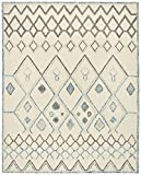 Rivet Geometric Boho Wool Rug, 8' x 10', Cream with Blue