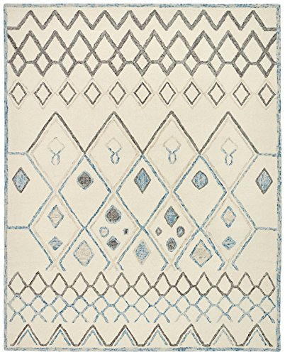 Rivet Geometric Boho Wool Rug, 4' x 6', Cream with Blue