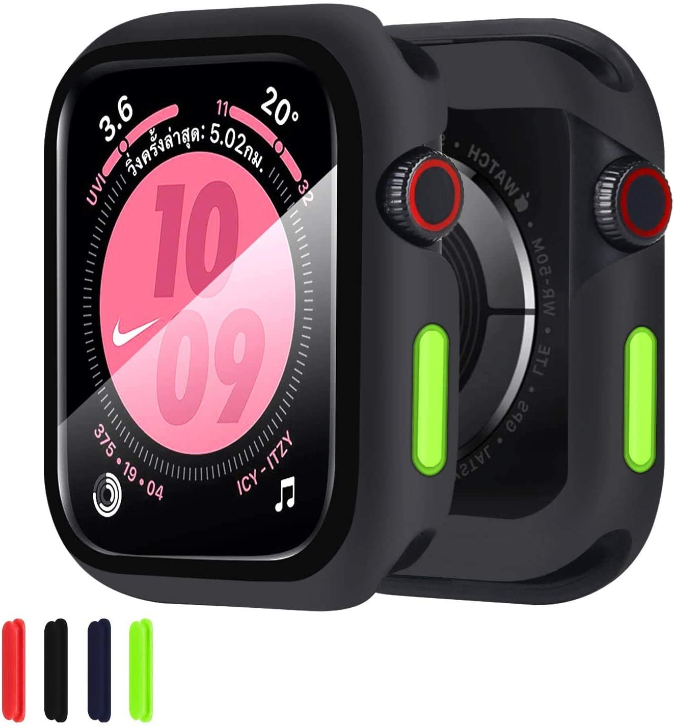 ZXK CO Compatible Apple Watch 44mm Series 6/SE/5/4 Case with Tempered Glass Film, Silicone Case with Scratch Resistant Screen Protector TPU Bumper Case Full Protective Cover for iWatch 44mm - Black