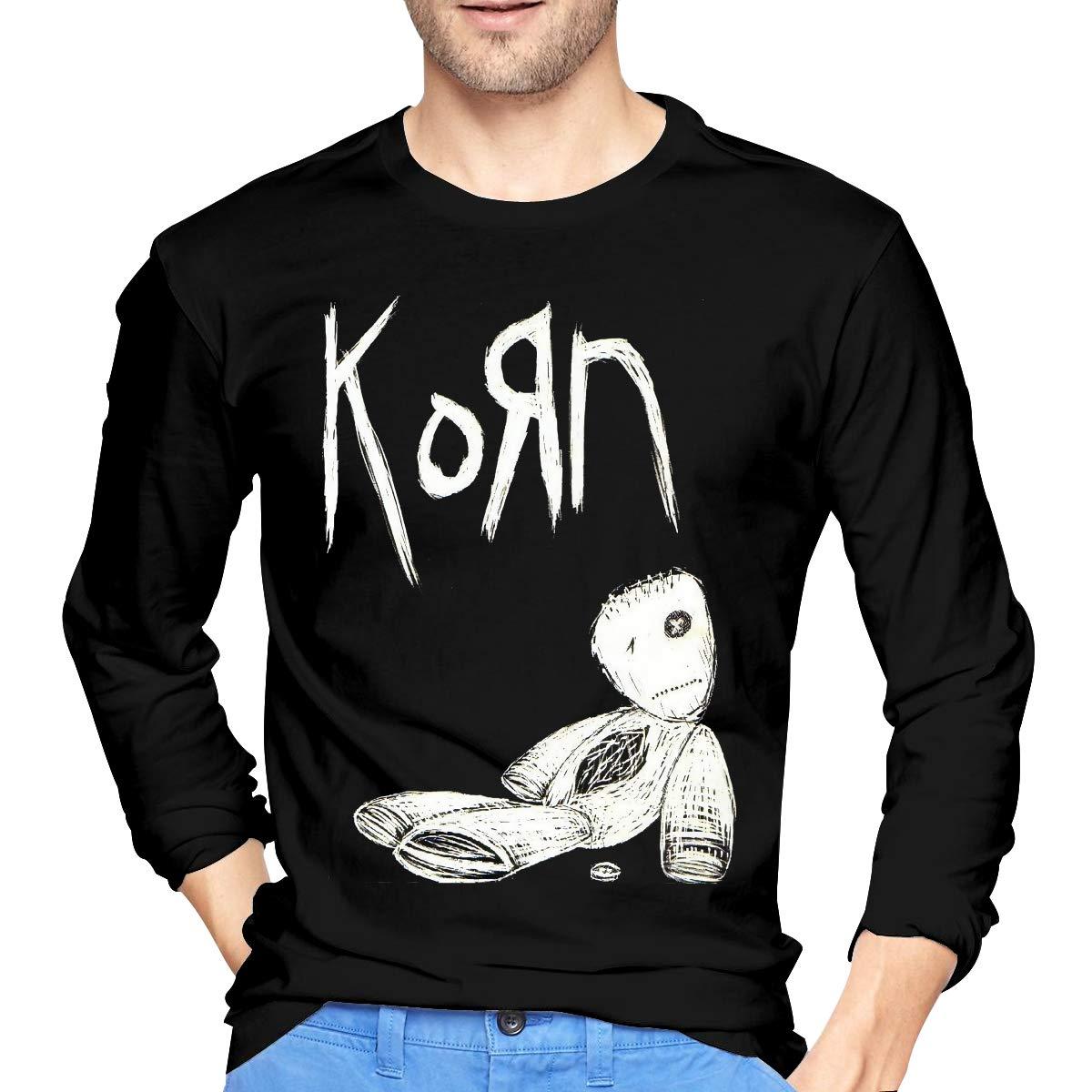 BXNOOD Mens Classic Korn Long Sleeve T-Shirts S Black