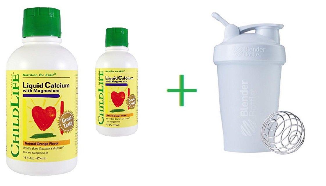 ChildLife, Essentials, Liquid Calcium with Magnesium, Natural Orange Flavor, 16 fl oz (474 ml) (2 Packs) + Sundesa, BlenderBottle, Classic With Loop, White, 20 oz
