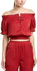 18bfe6a61d73c Romeo   Juliet Couture Women s Front Tie Off Shoulder Short Sleeve Blouse
