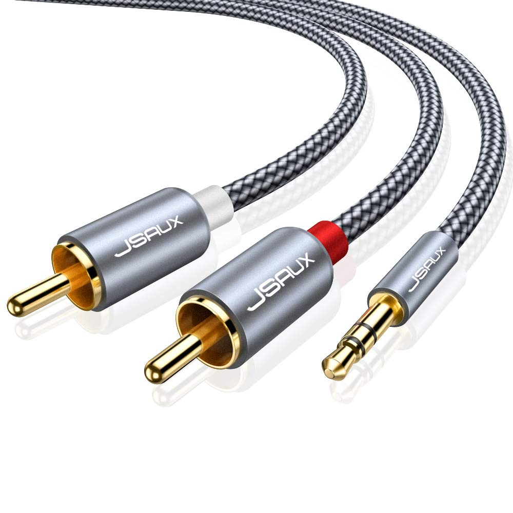 JSAUX RCA Cable, [15ft/4.5M, Dual Shielded Gold-Plated] 3.5mm Male to 2RCA Male Stereo Audio Adapter Coaxial Cable Nylon Braided AUX RCA Y Cord for Smartphones, MP3, Tablets, Speakers, HDTV [Grey] by JSAUX