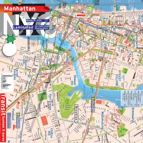 TerraMaps NYC Manhattan Street and Subway map - Waterproof - AR augMENTED reaLITY