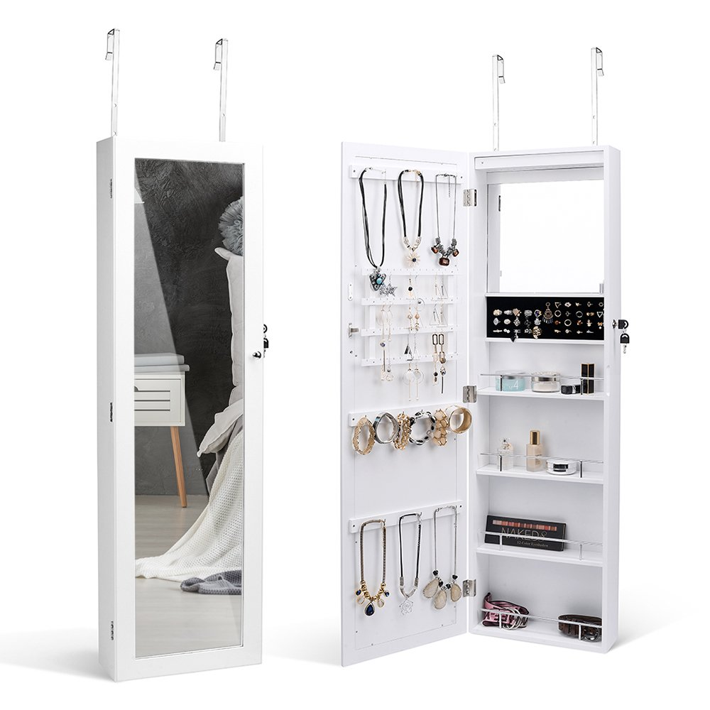 TWING 6 LED Jewelry Cabinet Wall Door Mounted Lockable Jewelry Armoire Organizer with Full-length Mirror White