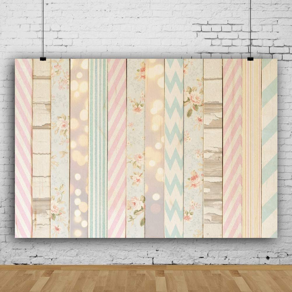 7x5ft Washable Polyester Multi Pattern Wooden Plank Backdrop Girls Tea Party Kids Birthday Baby Shower Photoshoot Wood Panel Board Background Newborn Baby Portrait Photography Studio Props