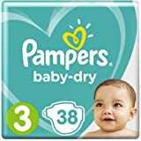 Pampers Baby-Dry Nappies, Size 3 Crawler (6kg-10kg), 38 Nappies, Up to 12 hours of overnight dryness