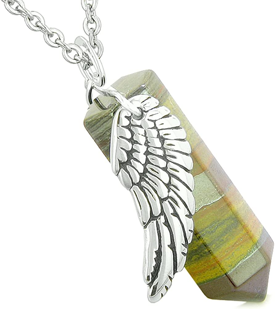 BestAmulets Amulet Angel Wing Magic Energy Wand Crystal Point Tiger Iron Crystal Pendant 22 Inch Necklace