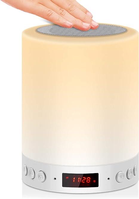 Jolvvn 5 In 1 Lampada Da Comodino Touch Luci Notturne Altoparlante Led Bluetooth Ricaricabile Portatile Lampada Da Tavolo Musicale Mp3 Radio Fm Sveglia Digitale E 7 Colori Amazon It Illuminazione
