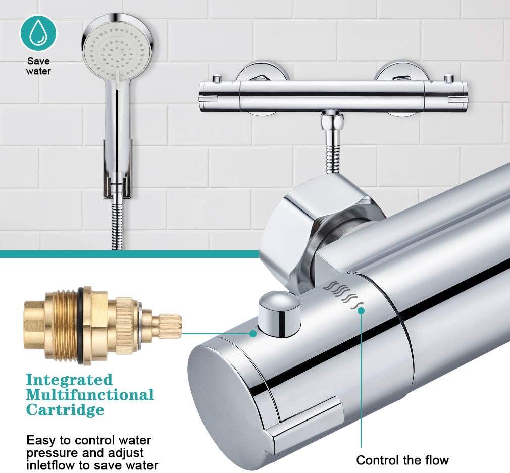Bonade Mitigeur de douche thermostatique de s/écurit/é /à 38 /°C Mitigeur thermostatique en laiton Montage en saillie Pour salle de bain