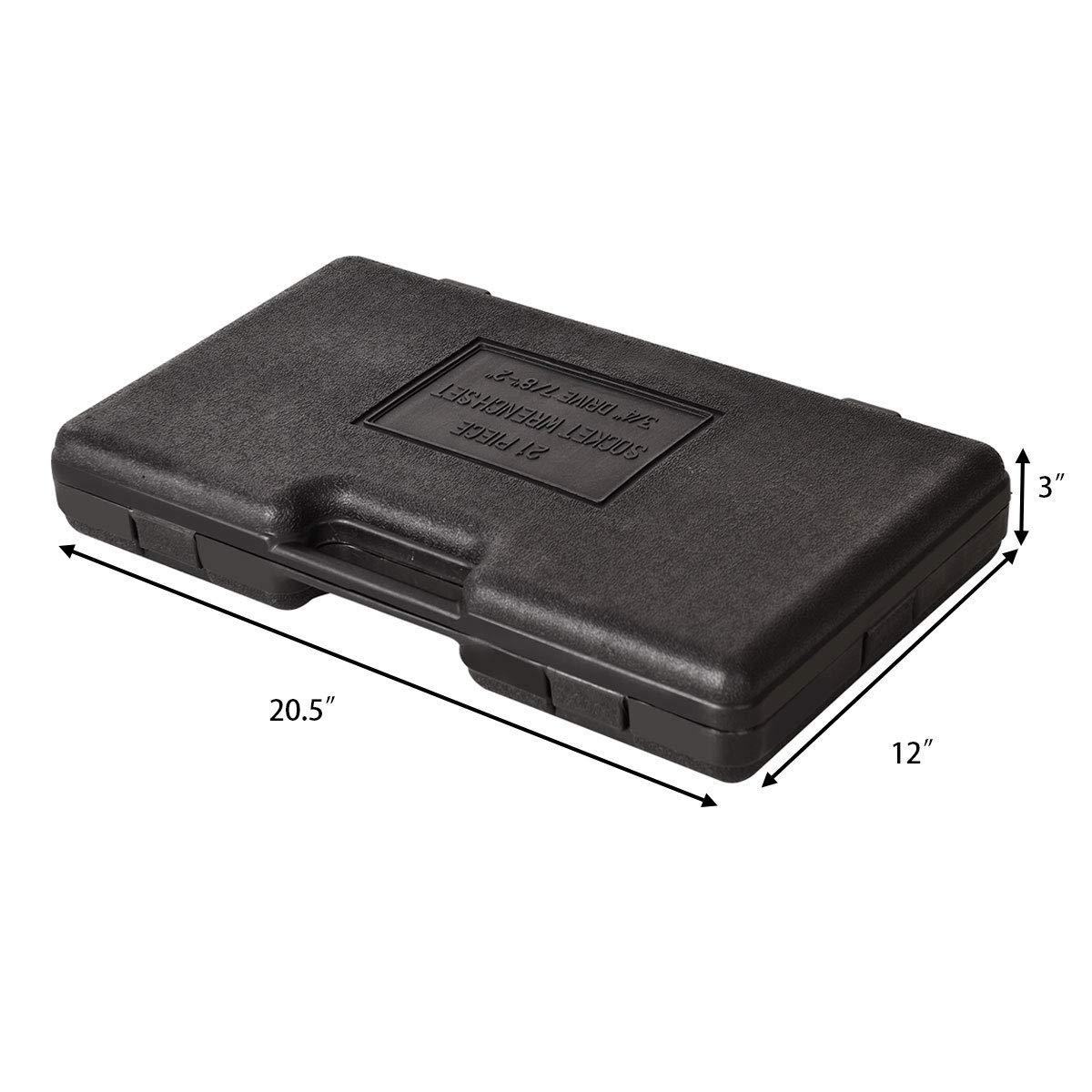 Goplus 21pcs SAE 3/4'' Drive Socket Set w/Case Jumbo Ratchet Wrench Extension (21pcs) by Goplus (Image #4)