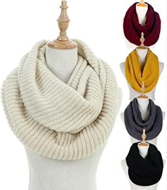 Winter Wrap Gifts Knitted Neck Warmers Crochet Loop Shawls Women Warm Scarves