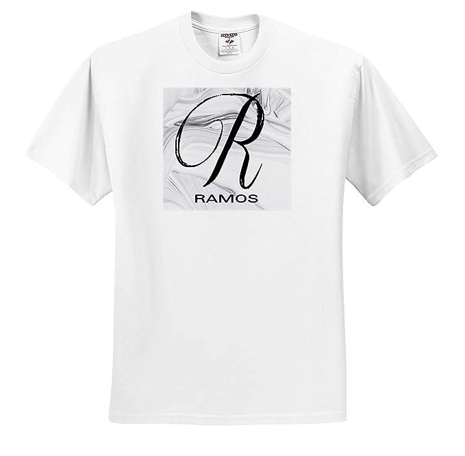 White Marble Monogram L Long T-Shirts 3dRose BrooklynMeme Monograms
