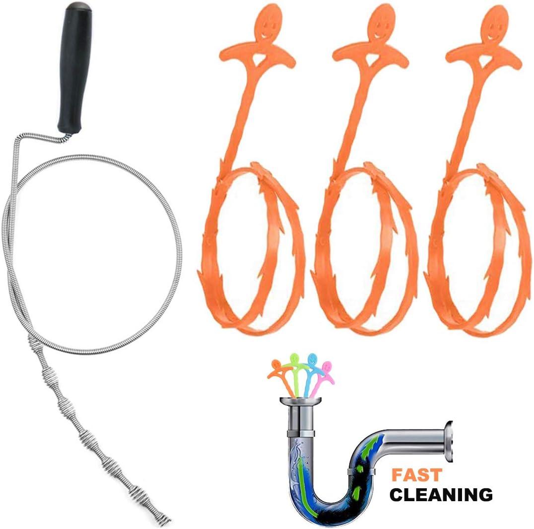 Kitchen Sink Cleaner Gesoon Drain Snake Hair Catcher Drain Auger with 3 Pieces Drain Snake Hair Remover Sink Bathtub Drain
