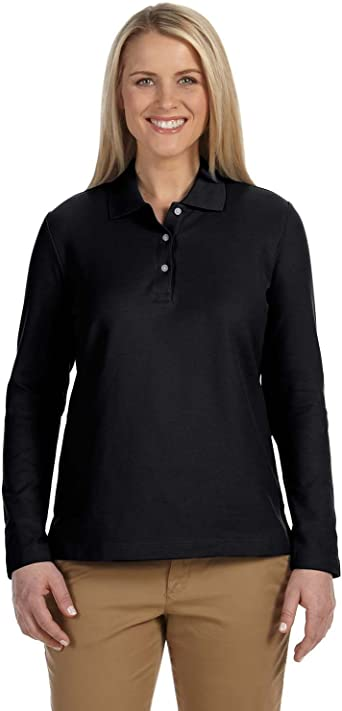 Devon & Jones Ladies' Pima Pique Long-Sleeve Polo Shirt