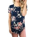 Rcool - Camisas Manga Corta de la Camiseta de la Impresión de la Flores de la Rosa Blusa de las Mujeres Top