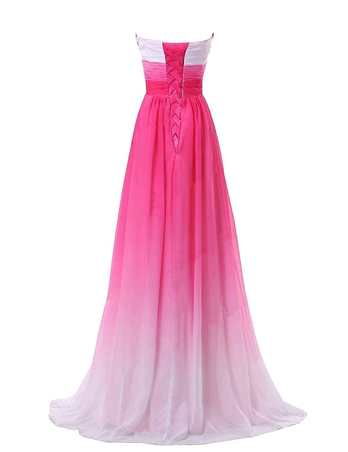 PromQueen Chiffon Strapless Tube Top Shoulder Evening Dresses Toast Clothing Long Chic Gradient Gowns for Bridesmaid Formal