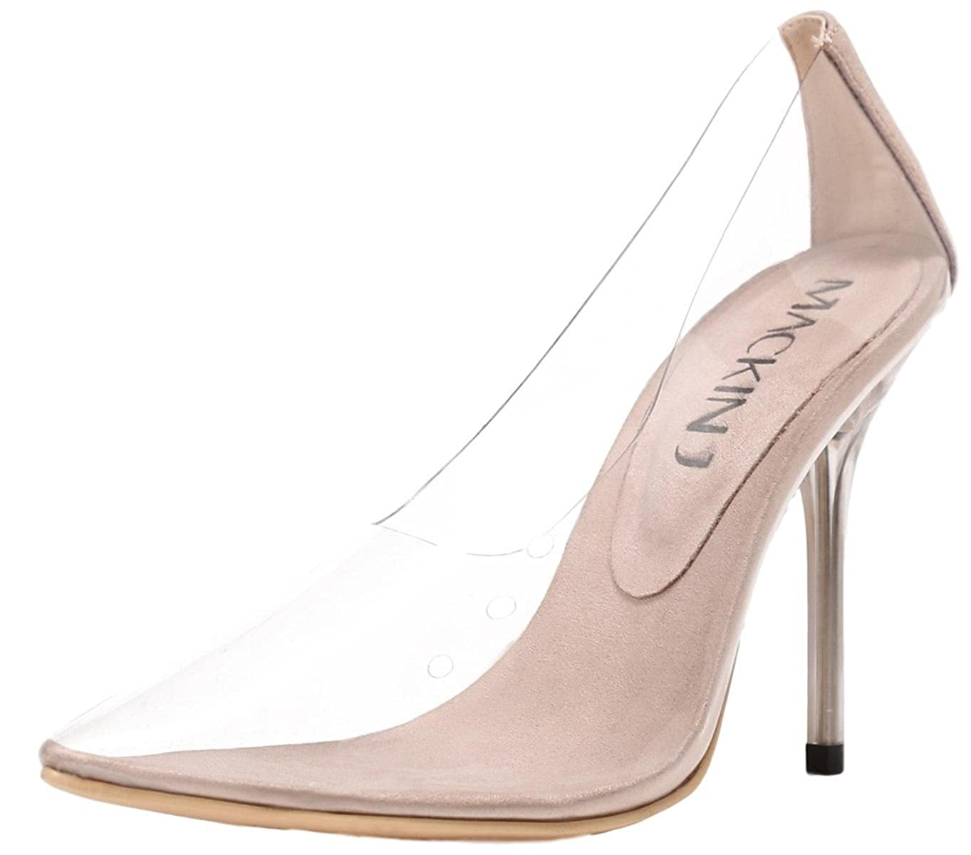 814b3871a05 Mackin J 260-1 Transparent Clear Pointed Pointy Toe Slip On Stiletto High  Heel Pumps Nude