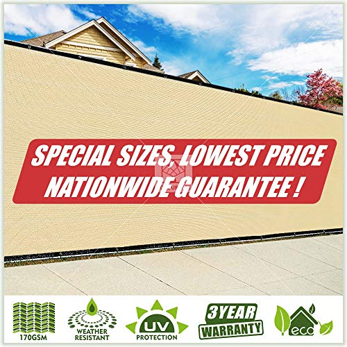 ColourTree Customized Size Fence Screen Privacy Screen Beige - Commercial Grade 170 GSM - Heavy Duty - 3 Years Warranty (1, 6' x 60')