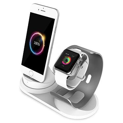 SPORTLINK Apple Watch Stand, Aluminio 2 en 1 Soporte de Carga iPhone Cargador Dock Station para iPhone X/8/8Plus/7s/7sPlus/ 6/6 Plus / 5S / 5 / SE ...