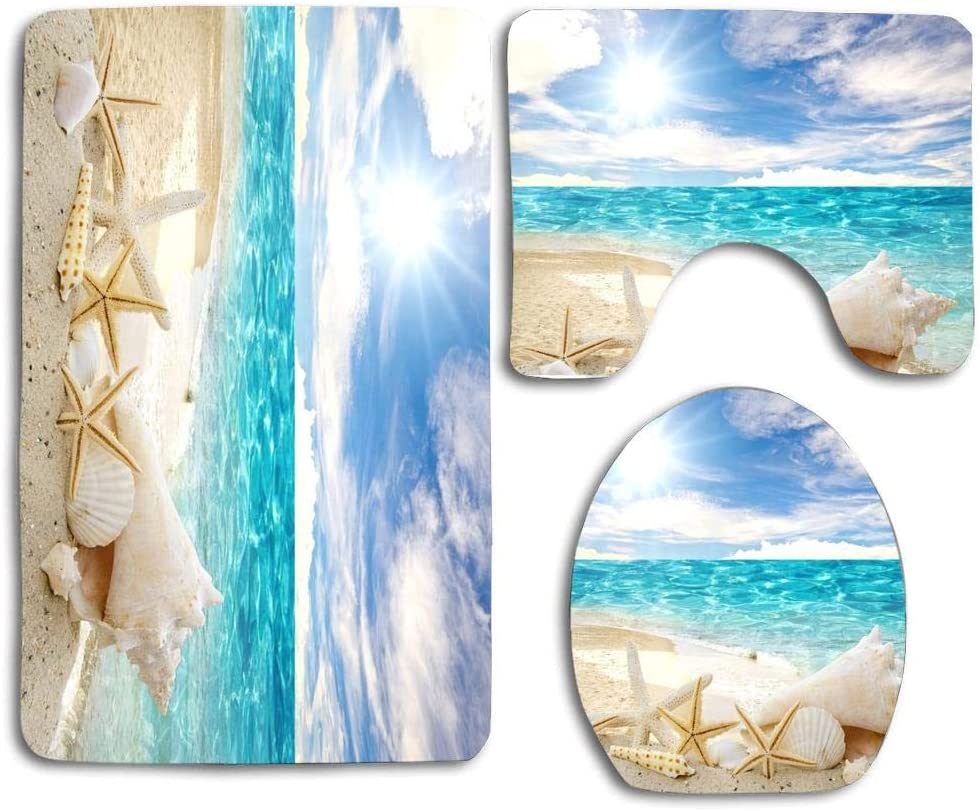 Non-Slip Bathroom Carpet Ultra Soft Shaggy Plush Microfiber Mat for Bathroom Bedroom Floor,16 x 24 Inches D Okdeals 3D Beach Seashell Bath Mat Rug