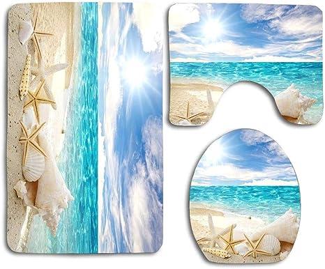 Beach Shell Bathroom Shower Curtain Set Toilet Mat Cover Non-Slip Rug 12 Hook
