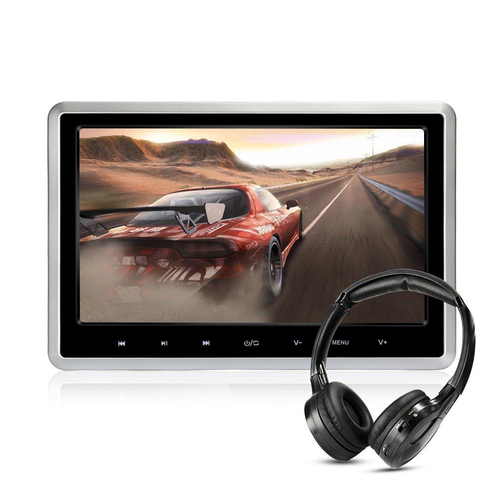 MiCarBa車ヘッドレストDVDプレーヤー ワイヤレスヘッドフォン付き 10.1インチヘッドレストモニター 薄型 高画質 1080P デジタルTFT液晶スクリーン リア席モニター DVD/VCD/SD/USB/HDMI機能対応 (CLZ102D-H) B078GJM6JZ