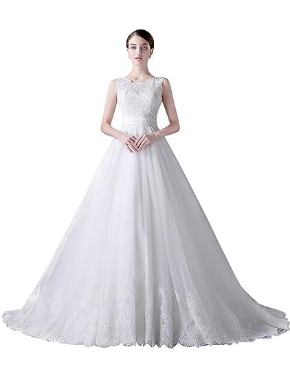 Adasbridal-Vestido de novia de Elegante Tul de escote barco de A-line con abalorios apliques de encaje: Amazon.es: Ropa y accesorios