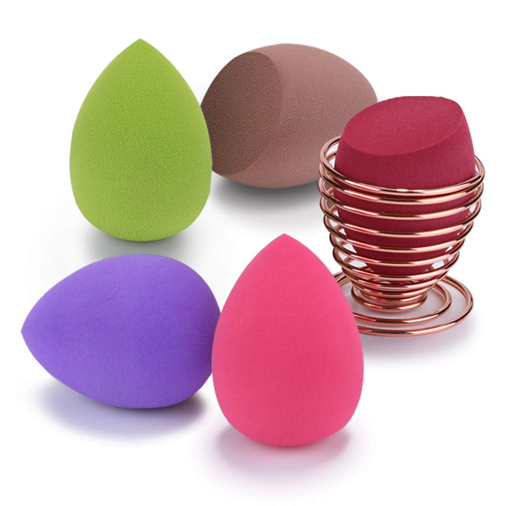 Makeup Sponge Blender Set, Beauty Makeup Sponges Latex-free Blender 5pcs + Beauty Sponge Holder 1pc
