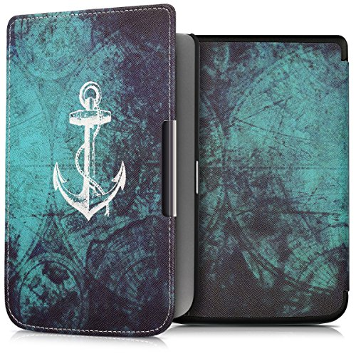 kwmobile Case for Pocketbook Touch Lux 3/Basic Lux/Basic Touch 2 - Book Style PU Leather Protective e-Reader Cover Folio Case - white blue