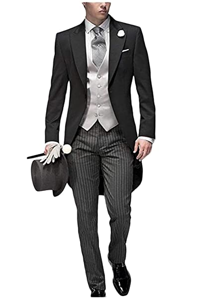 Duorou Mens Tail Tuxedo 3 Pieces Wedding Groom Tuxedo Suit