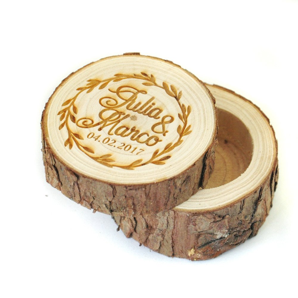 71205d59cf Custom Wedding Wooden Ring Bearer Box Engraved Name and date Wdding Ring  box Personalized Wedding Valentines Engagement Ring Box -Rustic Wedding  Ring Box