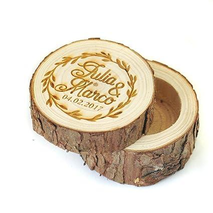 Amazon Com Custom Wedding Wooden Ring Bearer Box Engraved Name And