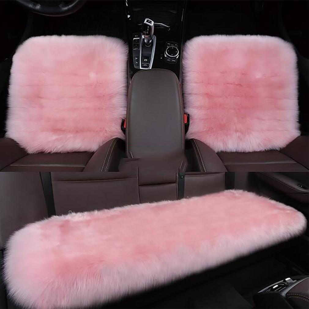 LPY-Genuine Sheepskin+Fibber Universal Car Seat Covers Car Seat Cushion , meters white