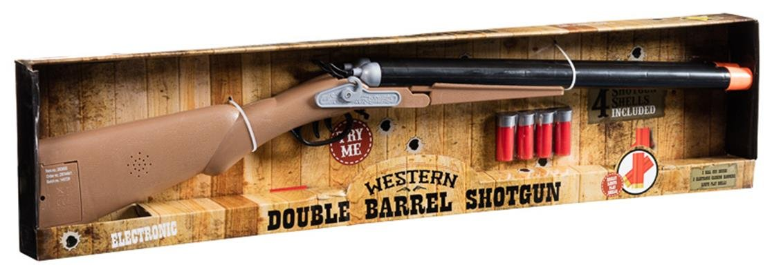 NEW Kids Western Double Barrel Shotgun + 4 shotgun Shells Toy Set Gift