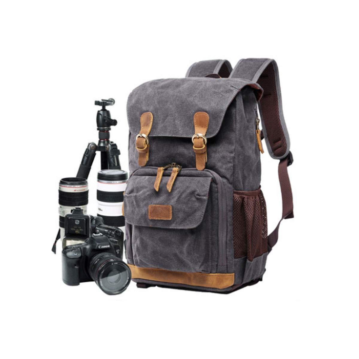 カメラバッグ、カメラコンピュータ、シングル一眼レフカメラバックパックバッグ、アウトドアショルダーワイドショルダーストラップ、使いやすい、ミリタリーグリーン (Color : Dark gray) B07R3JGNMP