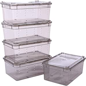 Petforu Breeding Box 5pcs, Reptile Dish Feeding Box Food Container with Lid Small (Transparent Black S)