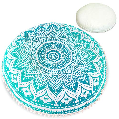Bohemian Decor Floor Cushion - Insert Included - Round Meditation Pillow Pouf - 100% Hand Printed Organic Cotton (Turquoise Lotus)