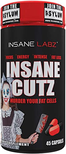 Insane Labz Insane Cutz Intense Fat Burner for Men and Women, Thermogenic Weight Loss Supplement with Dandelion Root Extract Fueled by AMPiberry, Appetite Suppressant – 45 Daily Srvgs 45 Capsules