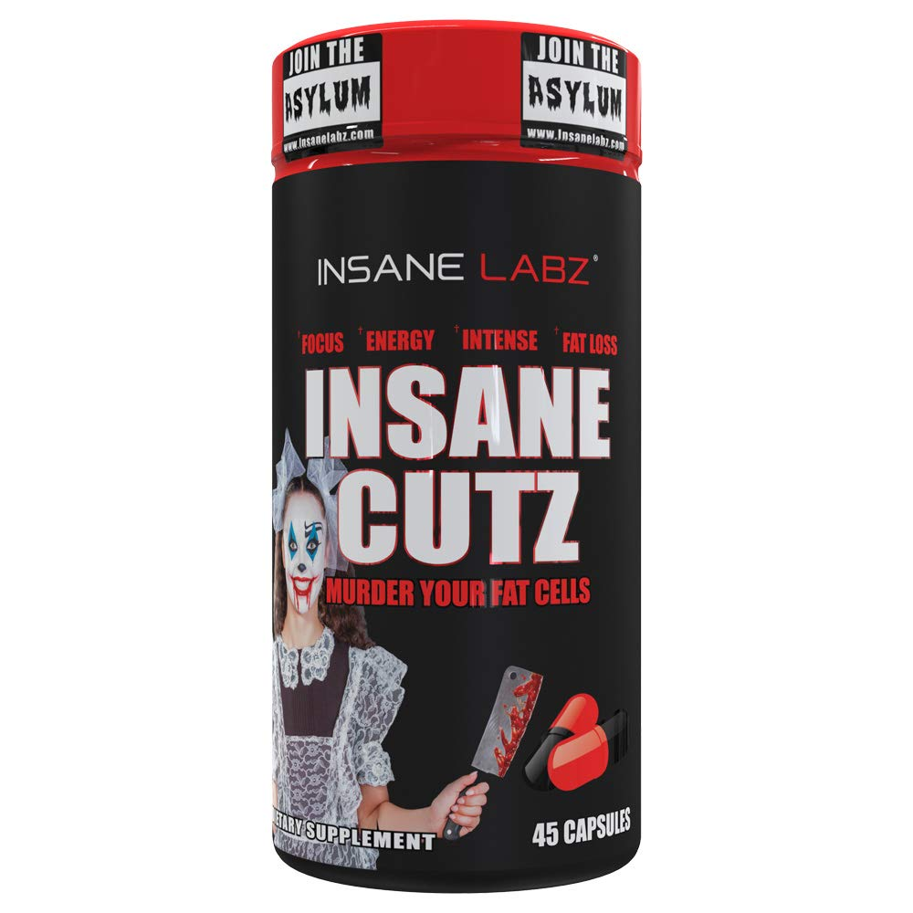 Insane Labz Insane Cutz Intense Fat Burner for Men and Women, Thermogenic Weight Loss Supplement with Dandelion Root Extract Fueled by AMPiberry, Appetite Suppressant - 45 Daily Srvgs (45 Capsules) by Insane Labz