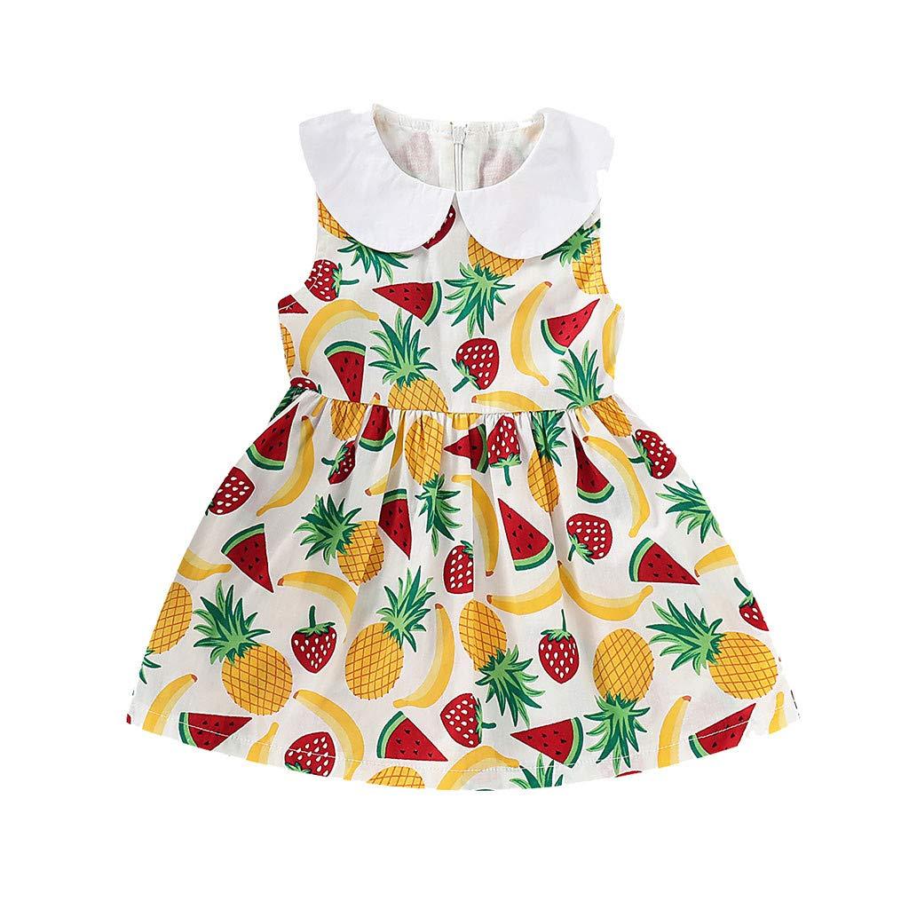 Huhu833 Baby M/ädchen /Ärmellose Kleid Kleinkind Kinder Sommer Fr/üchte Drucken Kleid Rundhals Kleider Minikleid Kleidung